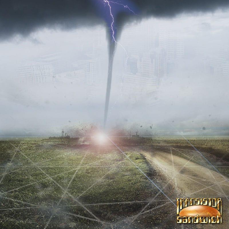 tornado over empty field with lightning strike